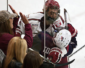 Luke Esposito (Harvard - 9), Jacob Tortora (NTDP - 11) - The Harvard University Crimson defeated the US National Team Development Program's Under-18 team 5-2 on Saturday, October 8, 2016, at the Bright-Landry Hockey Center in Boston, Massachusetts.