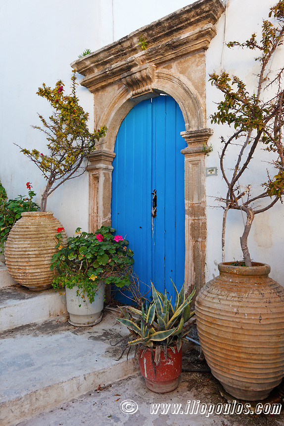 Old door of mansion at Kythera island, Greece