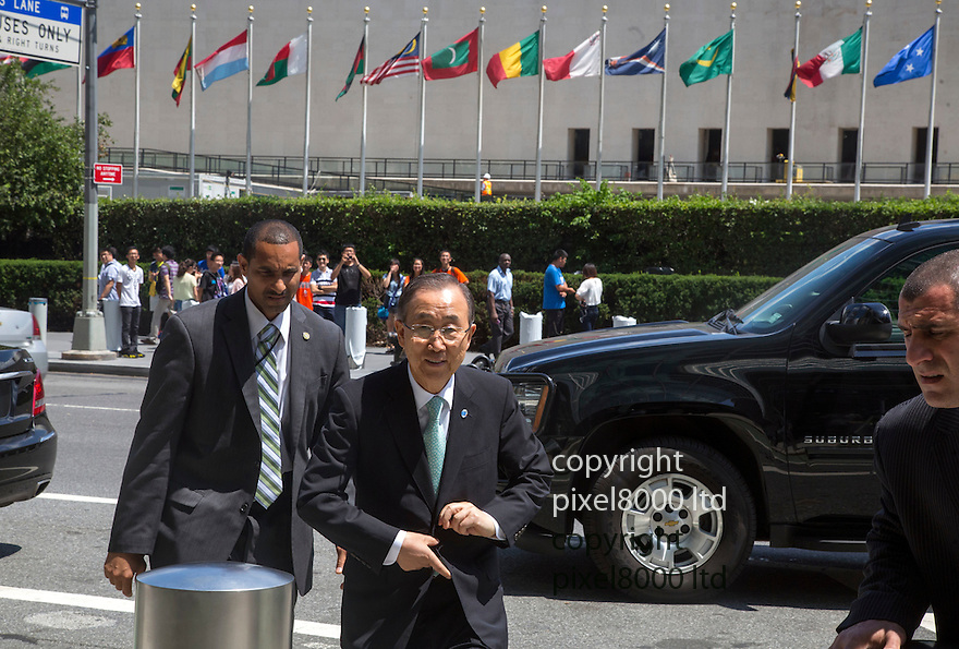 Pic shows: UN secretary general Ban Ki-Moon arrives at United Nations building in New York today where a huge pro Israeli rally of 10000 people was taking place.<br /> <br /> <br /> <br /> <br /> Pic by Gavin Rodgers/Pixel 8000 Ltd