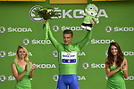 Marcel Kittel (GER) Quick-Step Floors retains the Green Jersey at the end of Stage 8 of the 104th edition of the Tour de France 2017, running 187.5km from Dole to Station des Rousses, France. 8th July 2017.<br /> Picture: ASO/Bruno Bade | Cyclefile<br /> <br /> <br /> All photos usage must carry mandatory copyright credit (&copy; Cyclefile | ASO/Bruno Bade)