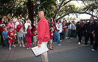 "STANFORD, CA -- August 31, 2012: David Shaw, head coach, on ""The Walk"" before the Stanford vs San Jose State University game Friday night at Stanford Stadium.<br /> <br /> The Cardinal defeated the Spartans 20-17."