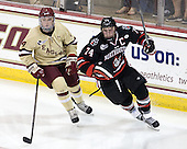 Teddy Doherty (BC - 4), Vinny Saponari (NU - 74) - The Boston College Eagles defeated the visiting Northeastern University Huskies 3-0 after a banner-raising ceremony for BC's 2012 national championship on Saturday, October 20, 2012, at Kelley Rink in Conte Forum in Chestnut Hill, Massachusetts.