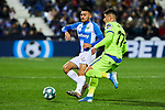 Oscar Rodriguez of CD Leganes and Mathias Olivera of Getafe FC during La Liga match between CD Leganes and Getafe CF at Butarque Stadium in Leganes, Spain. January 17, 2020. (ALTERPHOTOS/A. Perez Meca)