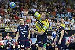 Torschuss von Rhein Neckar Loewe Jesper Nielsen (Nr.36)  beim Spiel in der Handball Bundesliga, SG BBM Bietigheim - Rhein Neckar Loewen.<br /> <br /> Foto &copy; PIX-Sportfotos *** Foto ist honorarpflichtig! *** Auf Anfrage in hoeherer Qualitaet/Aufloesung. Belegexemplar erbeten. Veroeffentlichung ausschliesslich fuer journalistisch-publizistische Zwecke. For editorial use only.