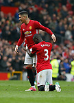 Eric Bailly of Manchester United celebrates with Marcos Rojo of Manchester United during the English Premier League match at Old Trafford Stadium, Manchester. Picture date: April 16th 2017. Pic credit should read: Simon Bellis/Sportimage