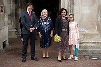 Pictured: Dame Shirley Bassey with councillor Huw Thomas (left), Lord Mayor of Cardiff councillor Dianne Rees (second left) and Mia Lloyd (right) as she is given the freedom of her home city, during a ceremony at the Cardiff City Hall, Wales, UK. Friday 17 May 2019<br /> Re: Dame Shirley Bassey is given the freedom of her home city, during a ceremony at the Cardiff City Hall, Wales, UK.