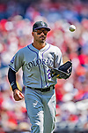 14 April 2018: Colorado Rockies first baseman Ian Desmond returns to the dugout during a game against the Washington Nationals at Nationals Park in Washington, DC. The Nationals rallied to defeat the Rockies 6-2 in the 3rd game of their 4-game series. Mandatory Credit: Ed Wolfstein Photo *** RAW (NEF) Image File Available ***