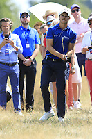 Thomas Detry (BEL) plays his 2nd shot from the rough on the 18th hole during Saturday's Round 3 of the Porsche European Open 2018 held at Green Eagle Golf Courses, Hamburg Germany. 28th July 2018.<br /> Picture: Eoin Clarke | Golffile<br /> <br /> <br /> All photos usage must carry mandatory copyright credit (&copy; Golffile | Eoin Clarke)