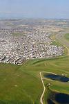 Aerial photography, Yukon over Canadian Rockies to Calgary, Alberta, Canada