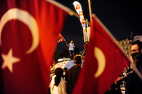 Protestors celebrate in Taksim Square, Saturday, June 8, 2013, in Istanbul, Turkey. (Seamus Travers/pressphotointl.com)