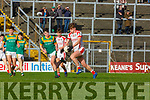 Cathal Begley OS Chorcha Dhuibhne and Evan Looney St Brendans in action during the Corn Uí Mhuiri on Saturday