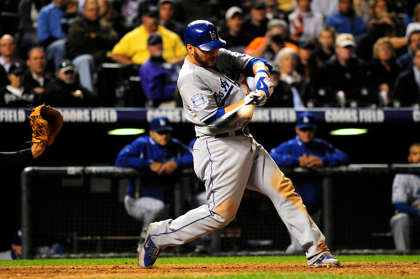 12 September 2008: Los Angeles Dodgers catcher Russell Martin at bat against the Colorado Rockies. The Dodgers defeated the Rockies 7-2 at Coors Field in Denver, Colorado. FOR EDITORIAL USE ONLY