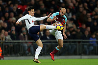 Pablo Zabaleta of West Ham United and Son Heung-Min of Tottenham during Tottenham Hotspur vs West Ham United, Premier League Football at Wembley Stadium on 4th January 2018