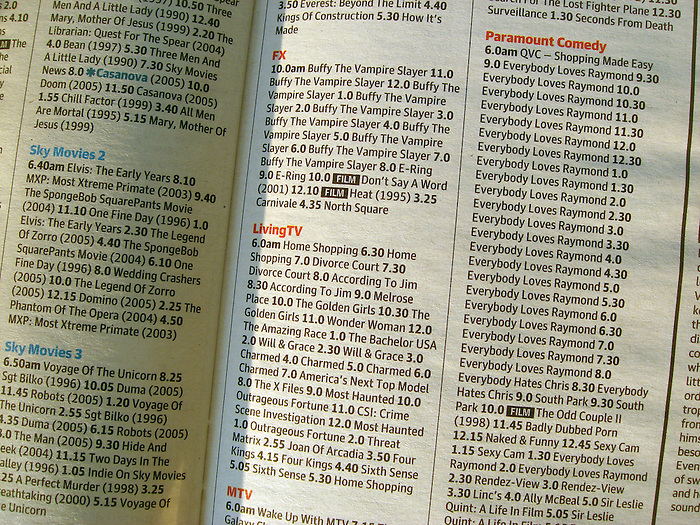A TV listings guide shows 22 consecutive episodes of 'Everybody Loves Raymond' (followed by 2 of 'Everybody Hates Chris']