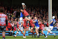 Franco Mostert of Gloucester Rugby claims the ball in the air. Gallagher Premiership match, between Gloucester Rugby and Bath Rugby on April 13, 2019 at Kingsholm Stadium in Gloucester, England. Photo by: Patrick Khachfe / Onside Images