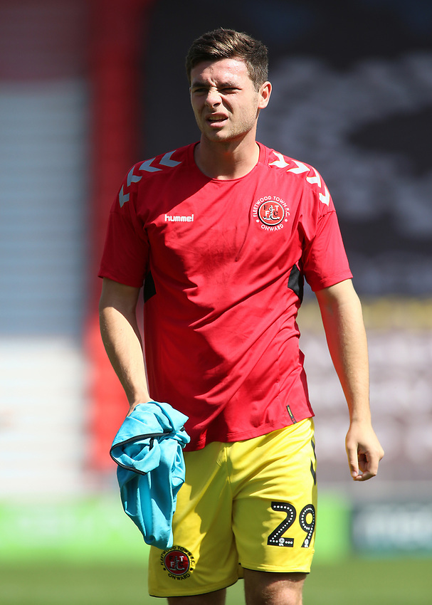 Fleetwood Town's Nathan Sheron during the pre-match warm-up <br /> <br /> Photographer David Shipman/CameraSport<br /> <br /> The EFL Sky Bet League One - Doncaster Rovers v Fleetwood Town - Saturday 17th August 2019  - Keepmoat Stadium - Doncaster<br /> <br /> World Copyright © 2019 CameraSport. All rights reserved. 43 Linden Ave. Countesthorpe. Leicester. England. LE8 5PG - Tel: +44 (0) 116 277 4147 - admin@camerasport.com - www.camerasport.com