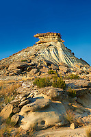 Castildeterra rock formation in the Bardena Blanca area of the Bardenas Riales Natural Park, Navarre, Spain