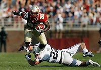 TALLAHASSEE, FL 9/18/10-FSU-BYU FB10 CH-Florida State's Ty Jones eludes Brigham Young's Telvin Smith during second half action Saturday at Doak Campbell Stadium in Tallahassee. The Seminoles beat the Cougars 34-10..COLIN HACKLEY PHOTO