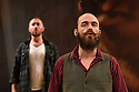 "Dundee, UK. 01.09.2016. Dundee Rep Theatre presents ""The Cheviot, The Stag and the Black, Black Oil"" by  John McGrath,  directed by Associate Artistic Director, Joe Douglas. Picture shows:  Alasdair Macrae (front), Calum Macdonald. Photograph © Jane Hobson."