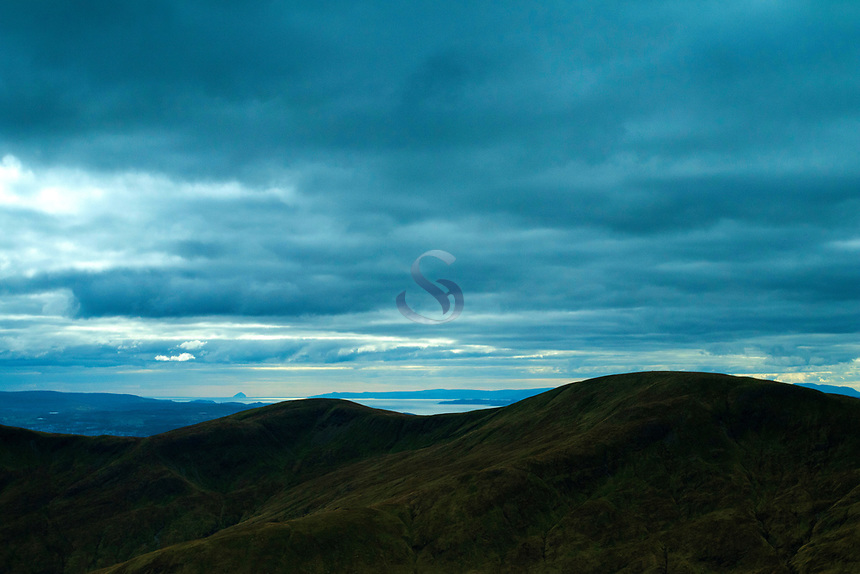 The Firth of Clyde and a distant Ailsa Craig from Beinn Eich, the Luss Hills, Loch Lomond and the Trossachs National Park