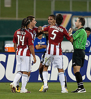 Ryan Johnson gets into an arguement when Gerson Mayen (14). The San Jose Earthquakes defeated Chivas USA 6-5 in shootout after drawing 0-0 in regulation time to win the inagural Sacramento Cup at Raley Field in Sacramento, California on June 12, 2010.