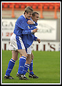 5/10/02       Copyright Pic : James Stewart                     .File Name : stewart-hamilton v stranraer 19.KEVIN FINLAYSON IS CONGRATULATED BY ALAN JENKINS AFTER HE SCORED THE FOURTH GOAL....James Stewart Photo Agency, 19 Carronlea Drive, Falkirk. FK2 8DN      Vat Reg No. 607 6932 25.Office : +44 (0)1324 570906     .Mobile : + 44 (0)7721 416997.Fax     :  +44 (0)1324 570906.E-mail : jim@jspa.co.uk.If you require further information then contact Jim Stewart on any of the numbers above.........