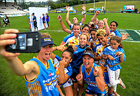 The Bay Of Plenty Women's team pose for a selfie. Day two of the 2018 Bayleys National Sevens at Rotorua International Stadium in Rotorua, New Zealand on Sunday, 14 January 2018. Photo: Dave Lintott / lintottphoto.co.nz