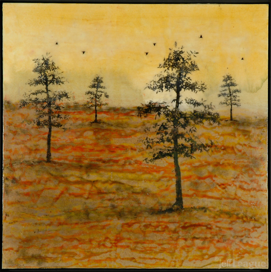 Autumn trees mixed media encaustic painting/photography transfer by Jeff League.