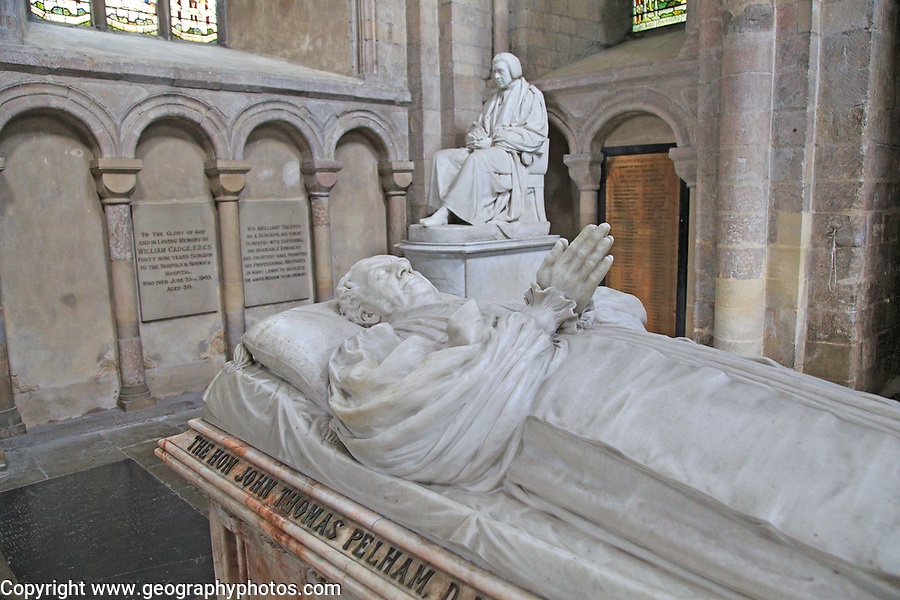 Bishop John Thomas Pelham monument inside Norwich cathedral church, Norfolk, England, UK