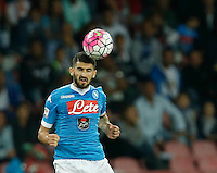 Napoli's Elseid Hysaj during the  italian serie a soccer match,    at  the San  Paolo   stadium in Naples  Italy , September 26 , 2015