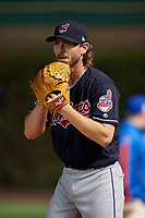 Cleveland Indians pitcher Josh Tomlin (43) warms up in the bullpen during Game 3 of the Major League Baseball World Series against the Chicago Cubs on October 28, 2016 at Wrigley Field in Chicago, Illinois.  (Mike Janes/Four Seam Images)