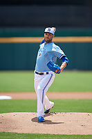 Toronto Blue Jays pitcher David Phelps (48), on rehab assignment with the Buffalo Bisons, during an International League game against the Lehigh Valley IronPigs on June 9, 2019 at Sahlen Field in Buffalo, New York.  Lehigh Valley defeated Buffalo 7-6 in 11 innings.  (Mike Janes/Four Seam Images)