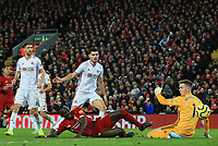 2nd January 2020; Anfield, Liverpool, Merseyside, England; English Premier League Football, Liverpool versus Sheffield United;  Sheffield United goalkeeper Dean Henderson saves the shot of Sadio Mane of Liverpool but is unable to prevent him scoring from the rebound - Strictly Editorial Use Only. No use with unauthorized audio, video, data, fixture lists, club/league logos or 'live' services. Online in-match use limited to 120 images, no video emulation. No use in betting, games or single club/league/player publications