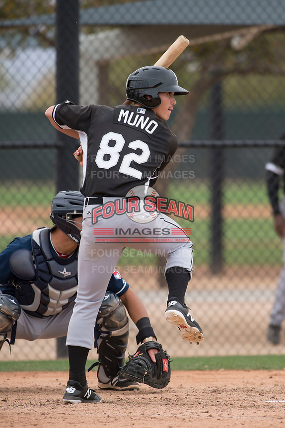 Chicago White Sox shortstop JJ Muno (82) during a Minor League Spring Training game against the Chicago White Sox at Camelback Ranch on March 16, 2018 in Glendale, Arizona. (Zachary Lucy/Four Seam Images)