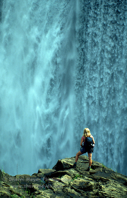 Hiker viewing the spillway at Clementine Dam on the North Fork of the American River