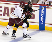 Chris Calnan (BC - 11), Kade Kehoe (CC - 24) - The Boston College Eagles defeated the visiting Colorado College Tigers 4-1 on Friday, October 21, 2016, at Kelley Rink in Conte Forum in Chestnut Hill, Massachusetts.The Boston College Eagles defeated the visiting Colorado College Tiger 4-1 on Friday, October 21, 2016, at Kelley Rink in Conte Forum in Chestnut Hill, Massachusett.
