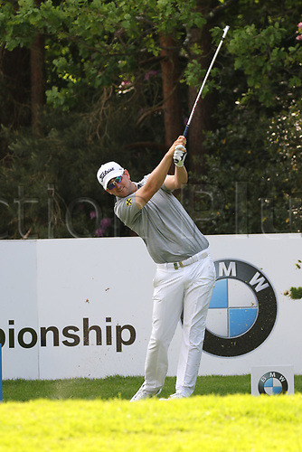 May 25th 2017, Virginia Water, Wentworth, Surrey, England; BMW PGA Championship golf, day 1; Bernd Wiesberger of Austria plays his tee shot on the par 3 14th