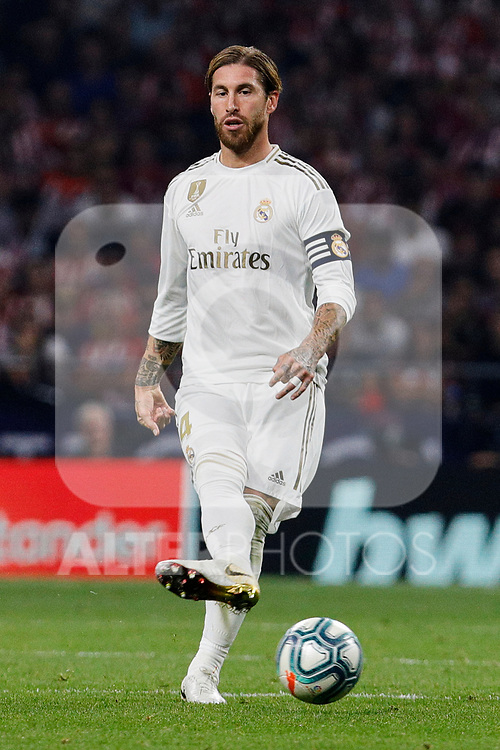 Sergio Ramos of Real Madrid during La Liga match between Atletico de Madrid and Real Madrid at Wanda Metropolitano Stadium in Madrid, Spain. September 28, 2019. (ALTERPHOTOS/A. Perez Meca)