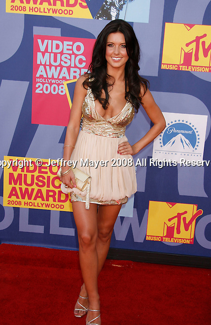 LOS ANGELES, CA. - September 07: TV personality Audrina Partridge arrives at the 2008 MTV Video Music Awards at Paramount Pictures Studios on September 7, 2008 in Los Angeles, California.