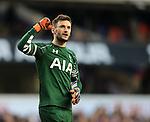 Tottenham's Hugo Lloris celebrates at the final whistle during the Premier League match at White Hart Lane Stadium.  Photo credit should read: David Klein/Sportimage