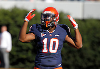 Virginia Cavaliers running back Clifton Richardson (10) pumps up the crowd during the game against Maryland in Charlottesville, Va. Maryland defeated Virginia 27-20.