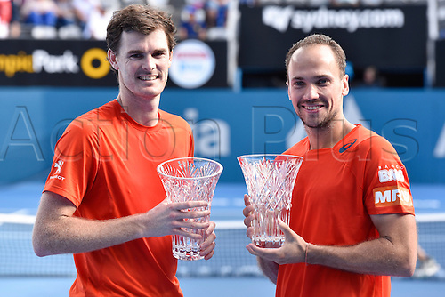 16.01.16 Sydney, Australia. Jamie Murray (GBR) and Bruno Soares (BRA) with their trophies as they win the doubles final against Rohan Bopanna (IND) and Florin Mergea (ROU) at the Apia International Sydney. Murray and Soares won the final 6-3,7-6.