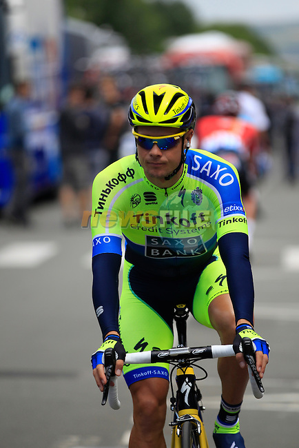 Nicolas Roche (IRL) Tinkoff-Saxo in Le Touquet for the start of Stage 4 of the 2014 Tour de France running 163.5km from Le Touquet to Lille. 8th July 2014.<br /> Picture: Eoin Clarke www.newsfile.ie