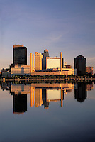 Skyline of Toledo, Ohio at sunrise, Maumee River.