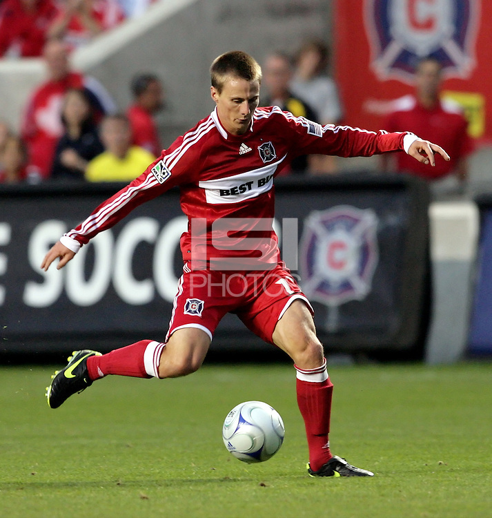 Chicago forward Chris Rolfe (17) prepares to shoot the ball.  The Chicago Fire defeated the San Jose Earthquakes 2-0 at Toyota Park in Bridgeview, IL on July 18, 2009.