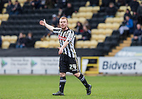 Adam Campbell of Notts County disputes a decision during the Sky Bet League 2 match between Notts County and Wycombe Wanderers at Meadow Lane, Nottingham, England on 28 March 2016. Photo by Andy Rowland.