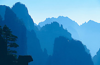 Landscape on Huangshan (Yellow Mountain), looking like the mountains on old Chinese paintings.