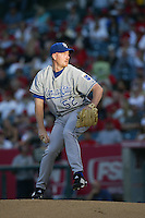 John Thomson of the Kansas City Royals during a game against the Los Angeles Angels in a 2007 MLB season game at Angel Stadium in Anaheim, California. (Larry Goren/Four Seam Images)