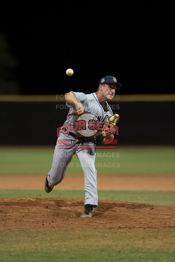 AZL Padres 1 relief pitcher Reiss Knehr (48) delivers a pitch during an Arizona League game against the AZL Padres 2 at Peoria Sports Complex on July 14, 2018 in Peoria, Arizona. The AZL Padres 1 defeated the AZL Padres 2 4-0. (Zachary Lucy/Four Seam Images)