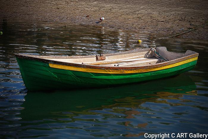 Boat in water, Boats of Balboa Island, California. Photograph by Alan Mahood.